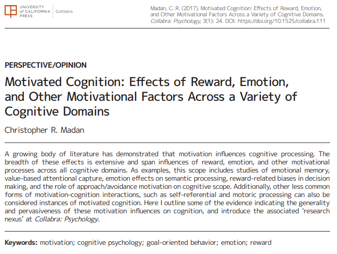 Motivated cognition: Effects of reward, emotion, and other motivational factors across a variety of cognitive domains