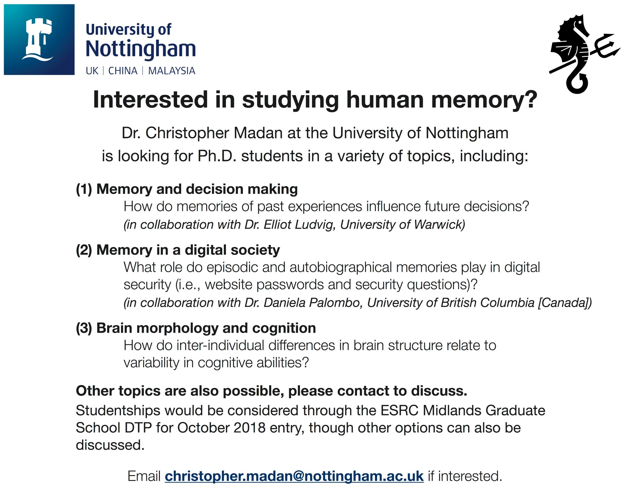 Interested in studying human memory?