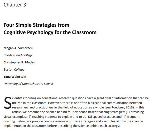 Four simple strategies from cognitive psychology for the classroom