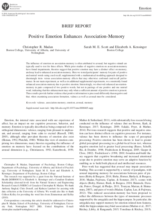 Positive emotion enhances association-memory