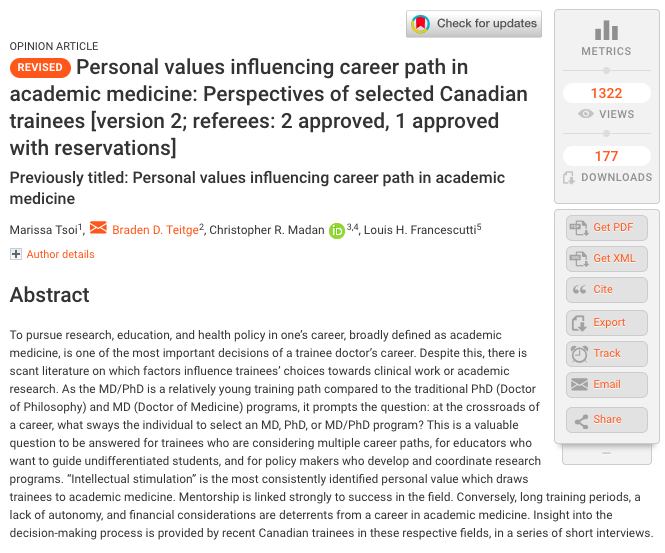Personal values influencing career path in academic medicine: Perspectives of selected Canadian trainees