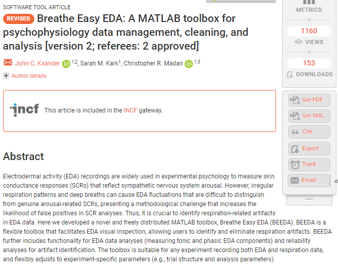 Breathe Easy EDA: A MATLAB toolbox for psychophysiology data management, cleaning, and analysis