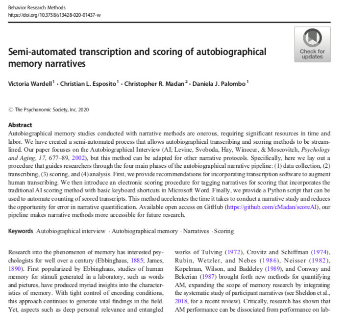 Semi-automated transcription and scoring of autobiographical memory narratives