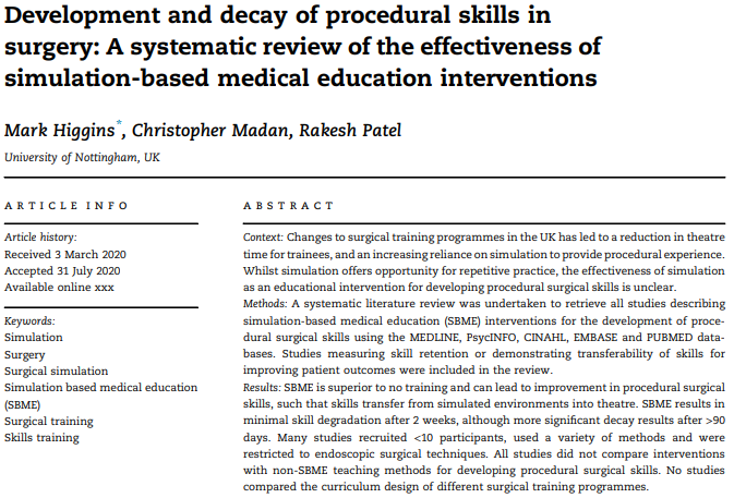 Development and decay of procedural skills in surgery: A systematic review of the effectiveness of simulation-based medical education interventions
