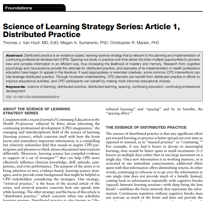 Science of Learning Strategy Series: Article 1, Distributed Practice