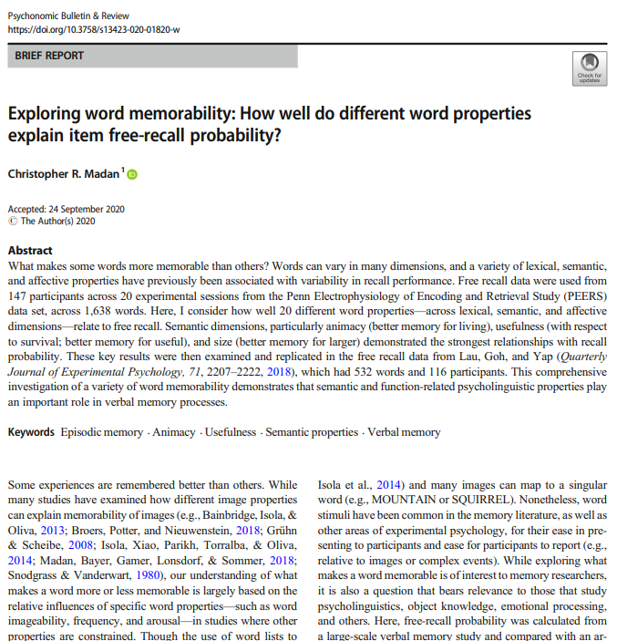 Exploring word memorability: How well do different word properties explain item free-recall probability?