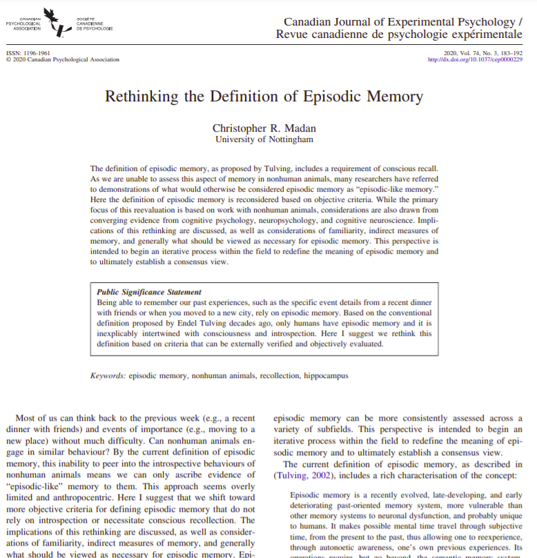 Rethinking the definition of episodic memory